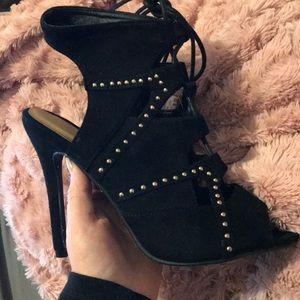Women's fashion suede lace up pencil heel heels